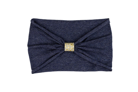 Headband - Denim With Gold Python Leather Loop