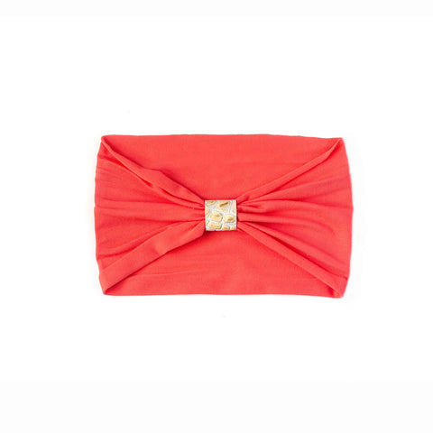 Headband - Hot Coral with Gold Python Loop