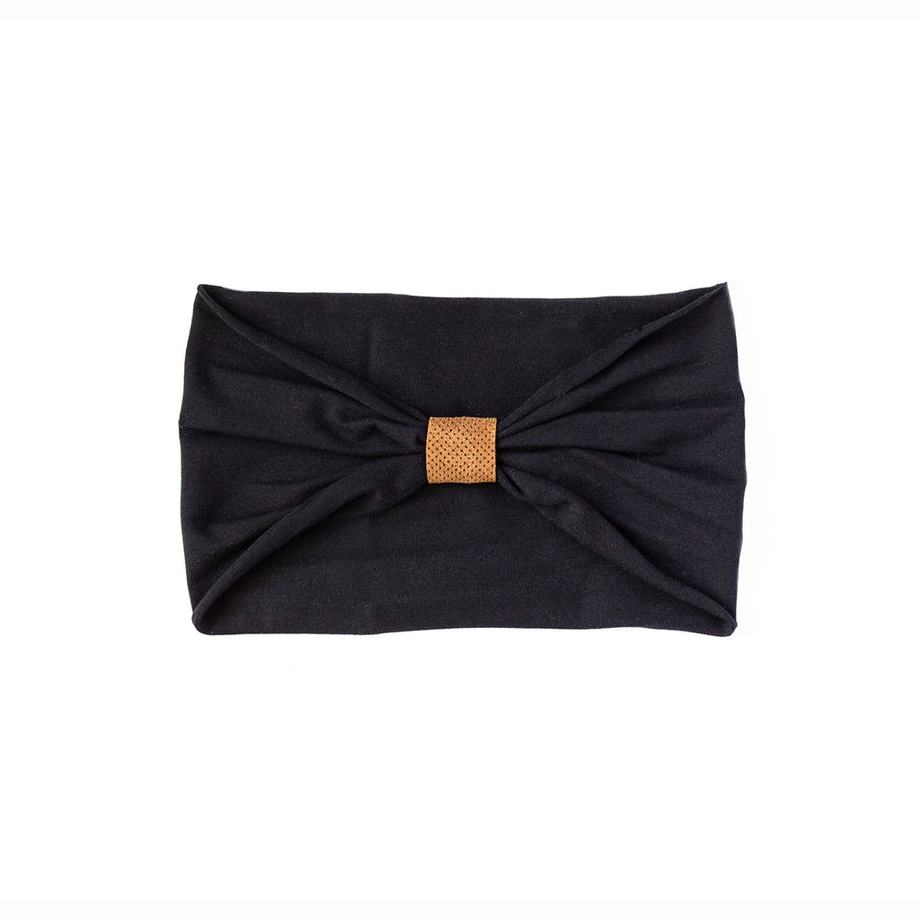 Headband - black with perforated caramel loop