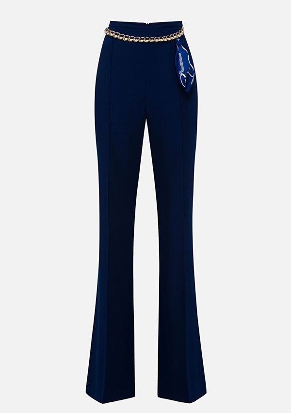 Elizabetta Franchi Navy trousers with a chain belt