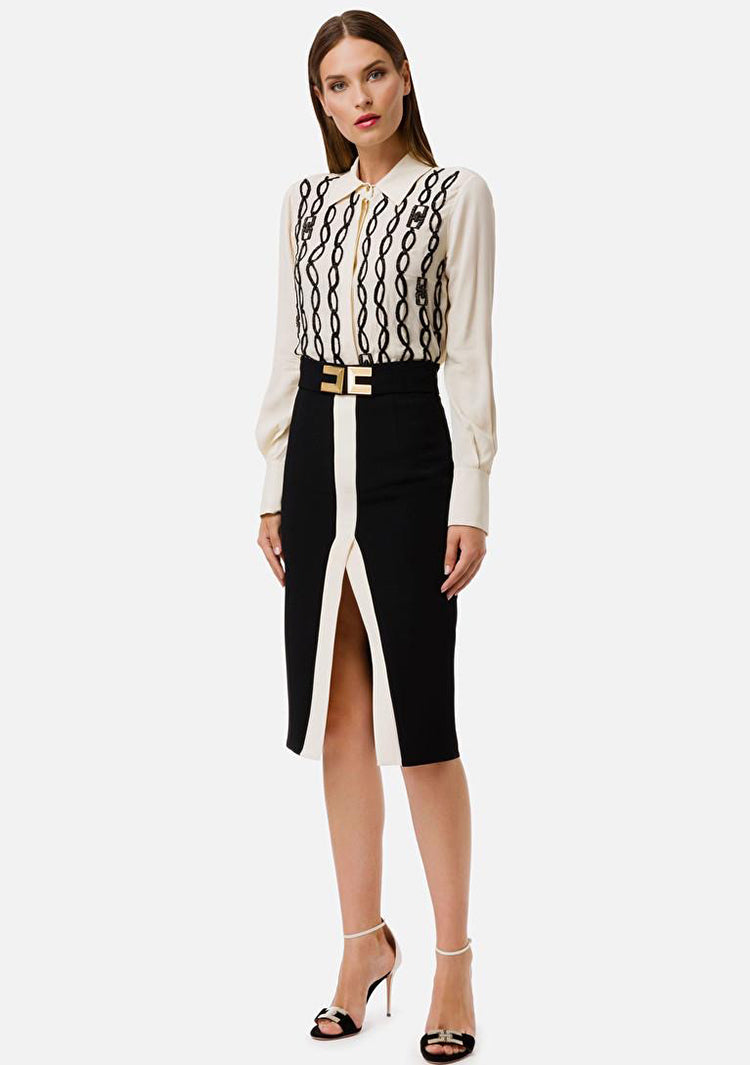 Elizabetta Franchi Black pencil skirt with cream trim