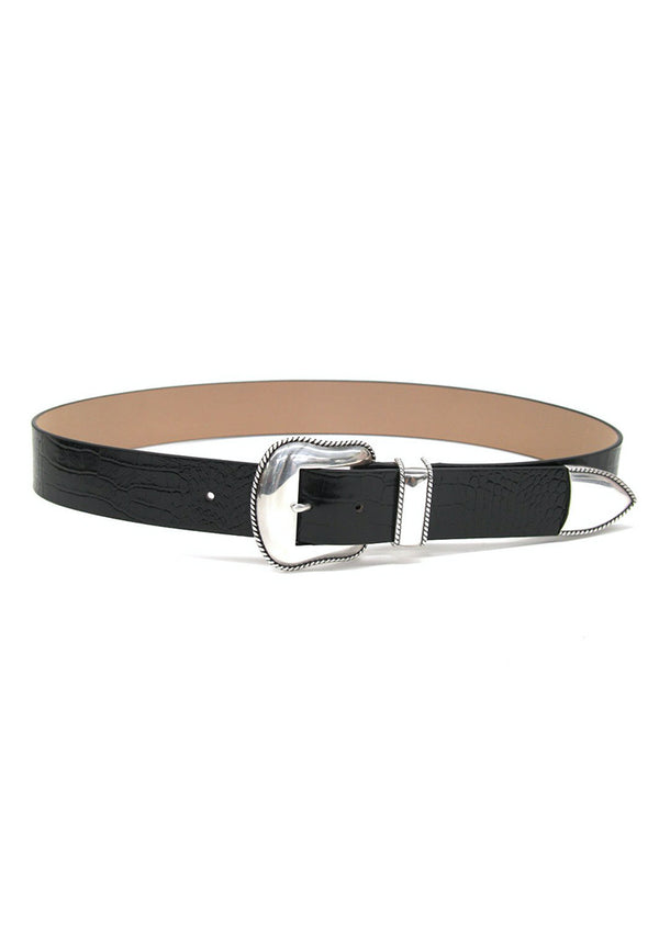 Black belt with silver buckle