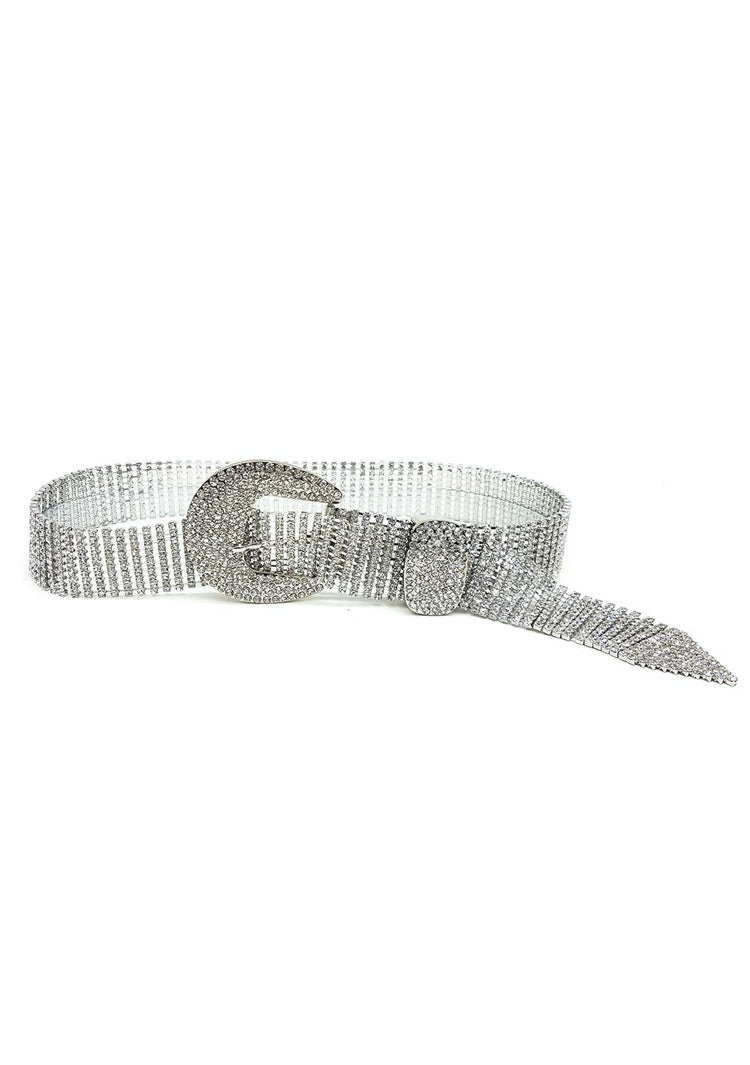 Thin belt with crystal embellishment