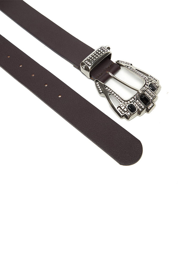 Black leather belt with silver buckle with crystals