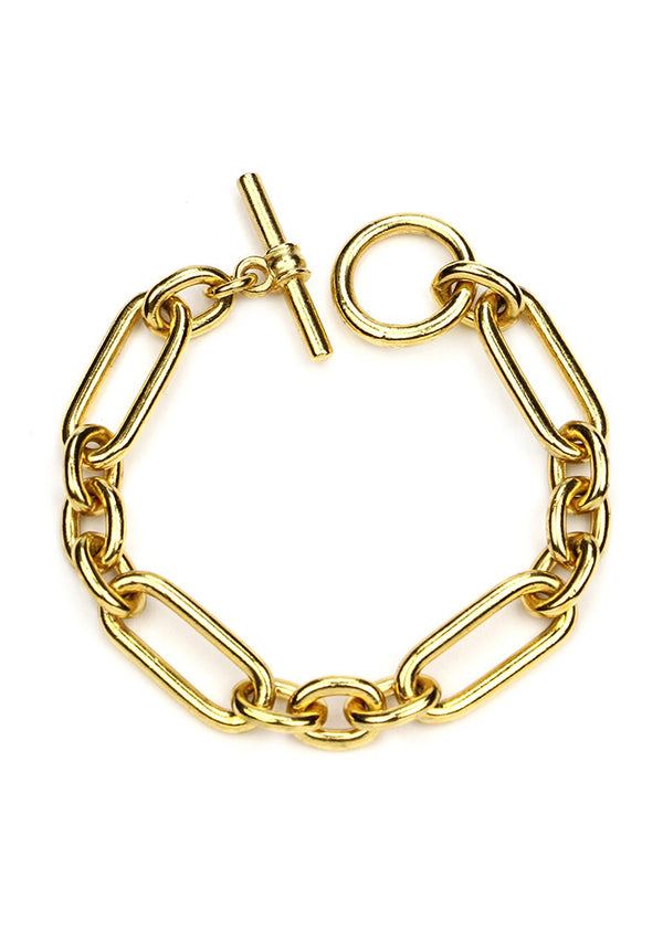 Gold link elongated oval chain bracelet