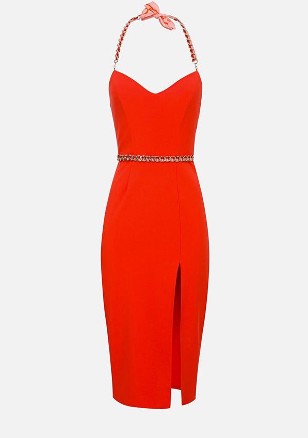 Elizabetta Franchi Orange sleeveless pencil dress