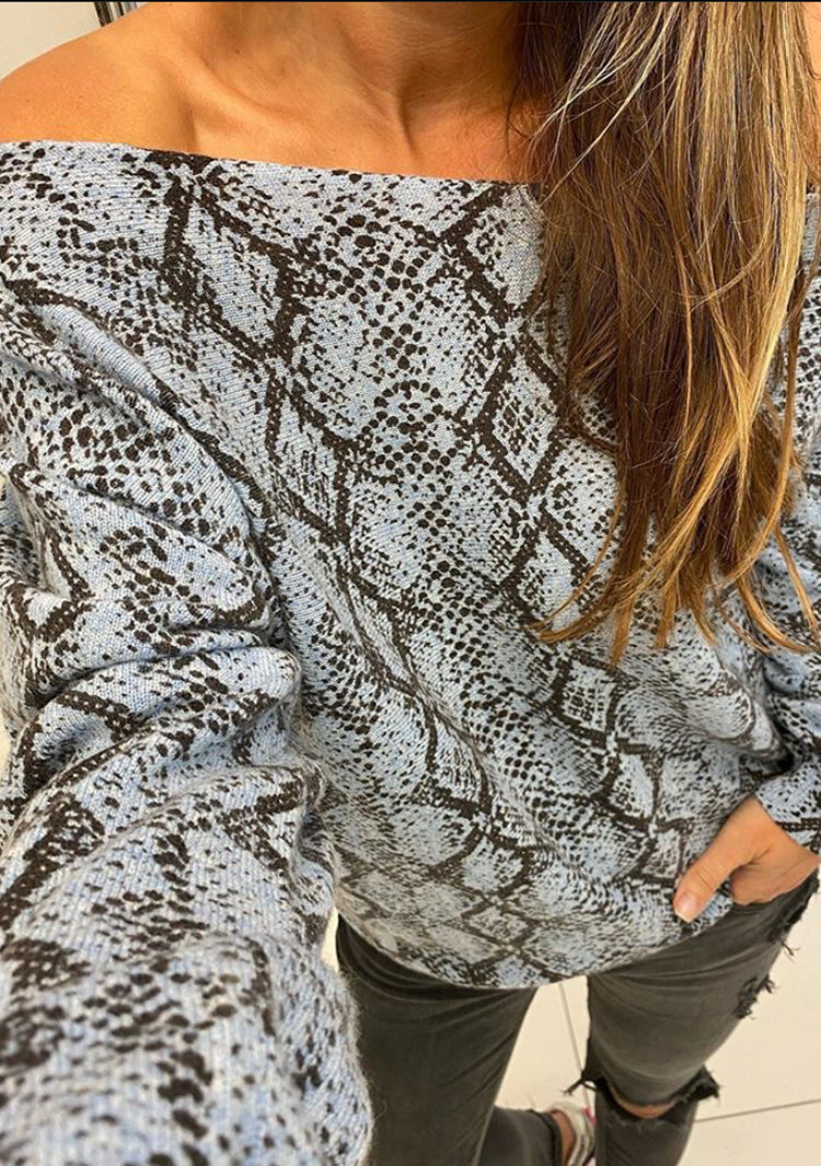 Minnie Rose blue snake print cashmere off the shoulder top