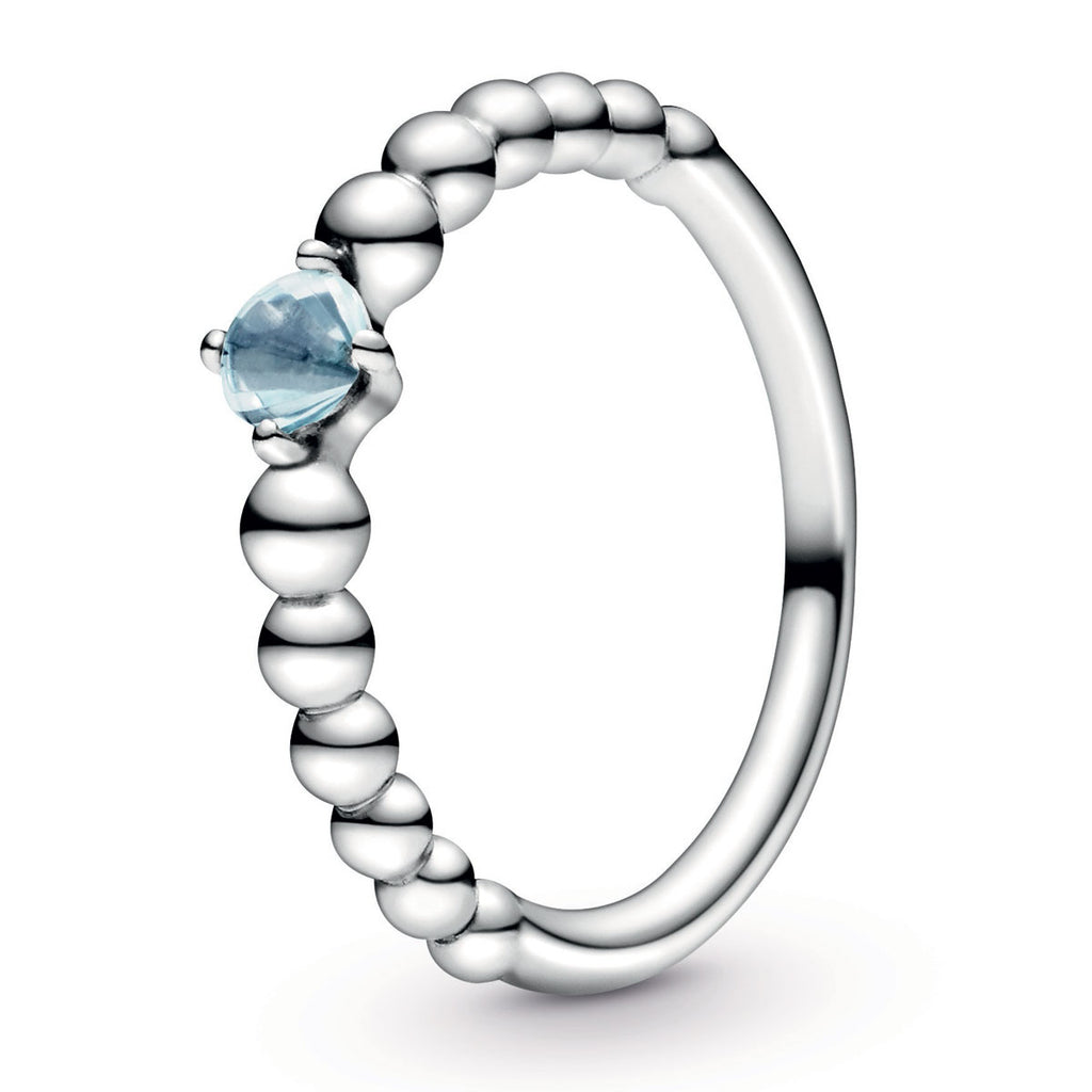 Aqua Blue Beaded Ring - Pandora Jewelry Las Vegas