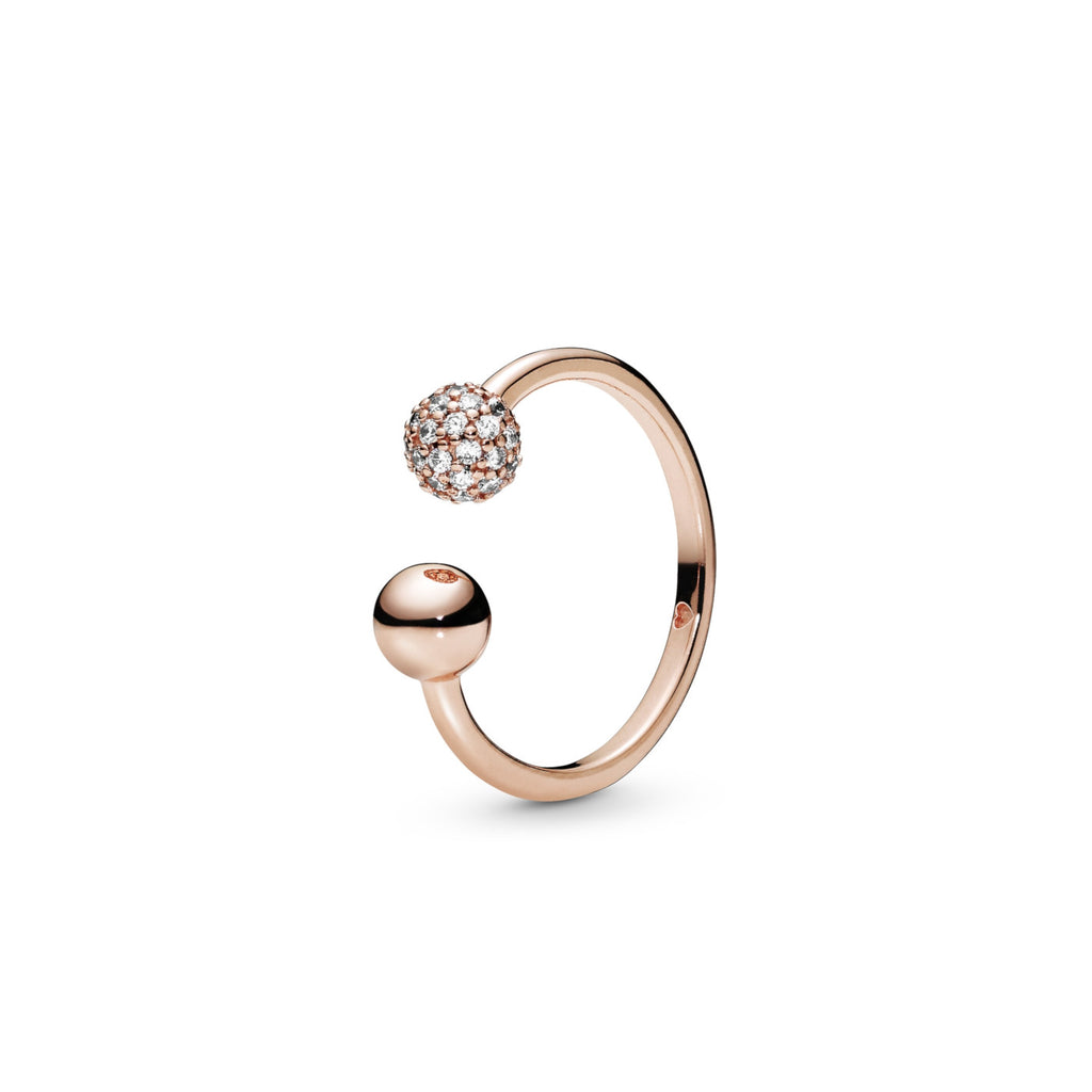 Polished & Pavé Bead Pandora Rose Ring - Pandora Jewelry Las Vegas