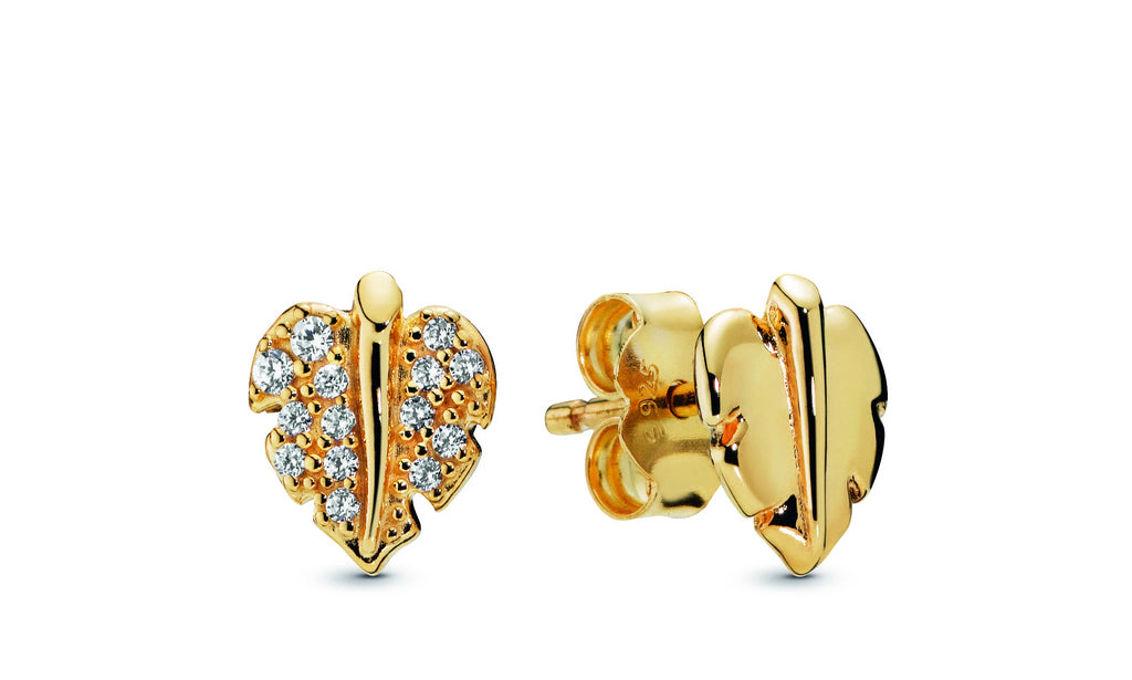 Shining & Sparkling Leaf Pandora Shine Stud Earrings - Pandora Jewelry Las Vegas