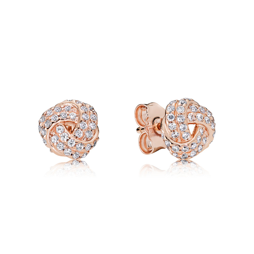 Sparkling Love Knot Pandora Rose Stud Earrings - Pandora Jewelry Las Vegas