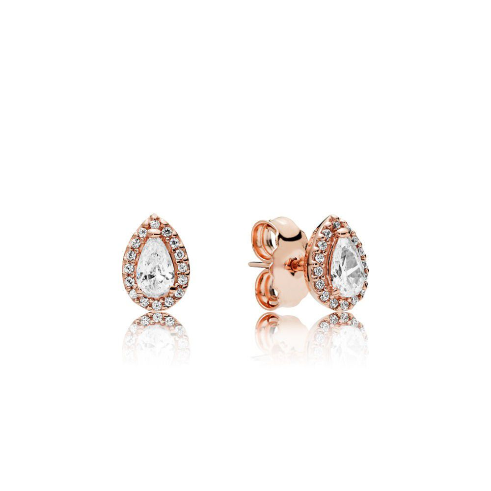 Radiant Teardrop Pandora Rose Stud Earrings - Pandora Jewelry Las Vegas
