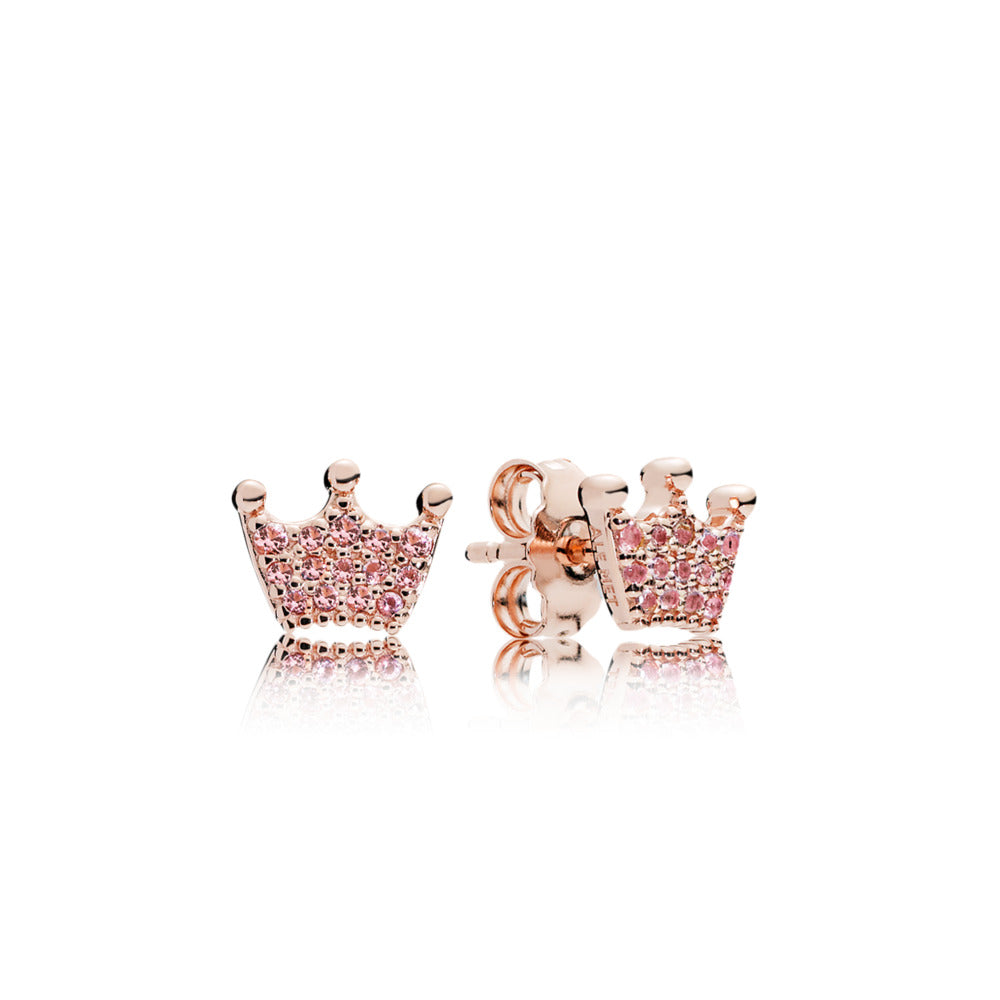 Pink Enchanted Crown Pandora Rose Stud Earrings - Pandora Jewelry Las Vegas