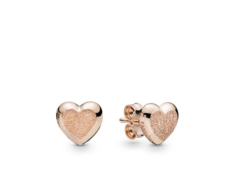 Matte Brilliance Heart Pandora Rose Earrings - Pandora Jewelry Las Vegas
