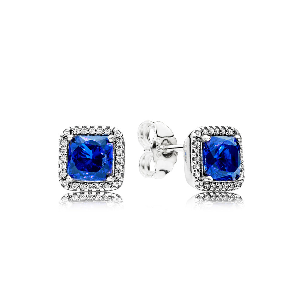 Timeless Elegance Blue Crystal Stud Earrings - Pandora Jewelry Las Vegas