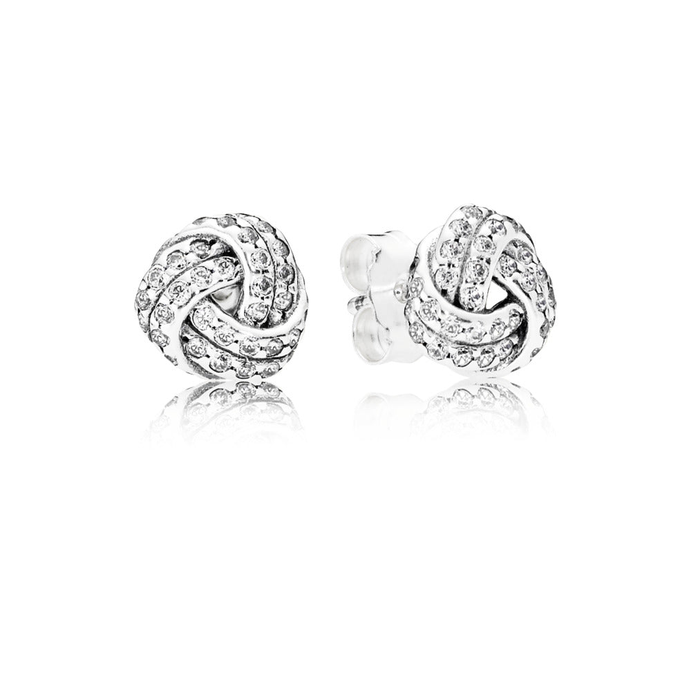 Sparkling Love Knot Stud Earrings - Pandora Jewelry Las Vegas