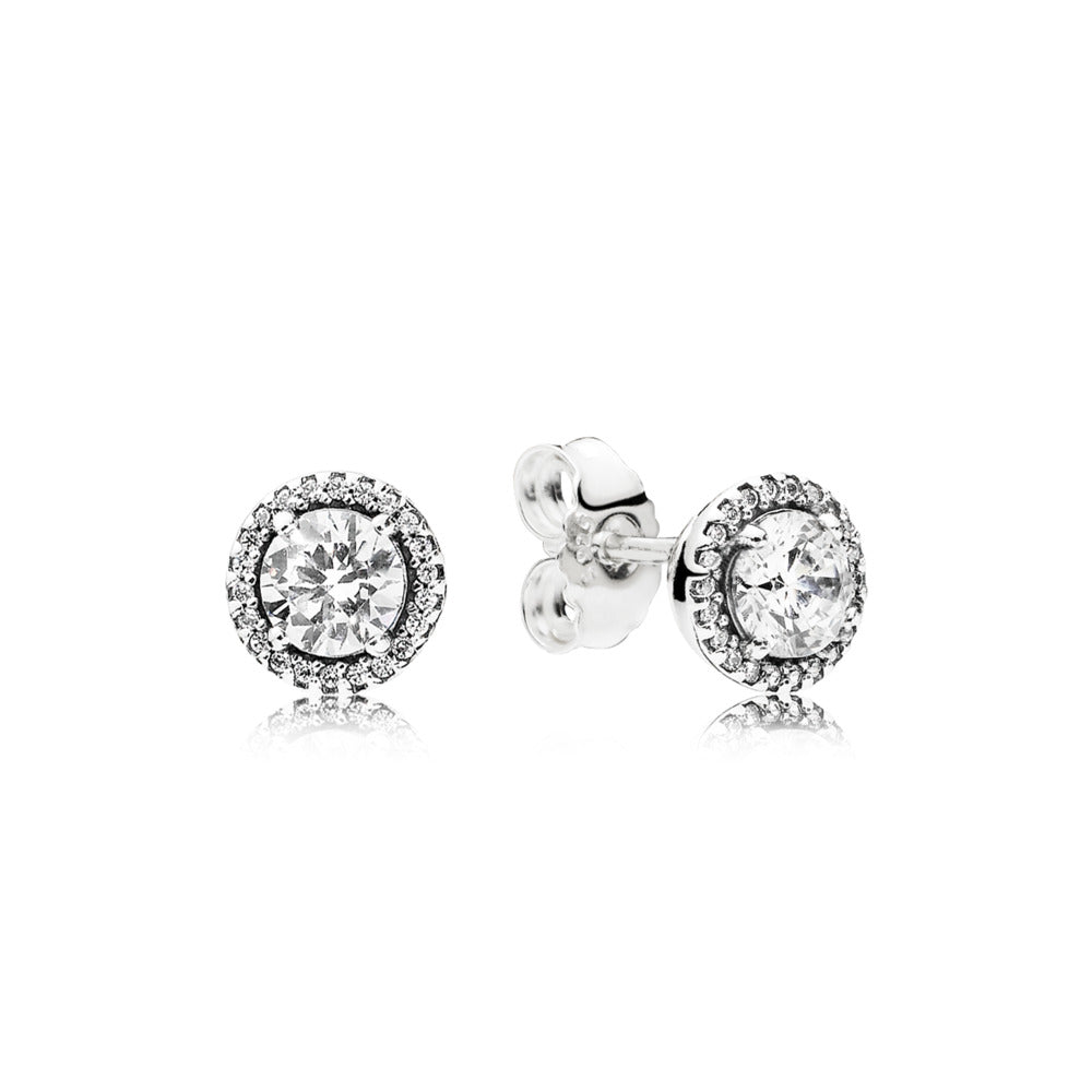 Classic Elegance Stud Earrings, Clear Cz - Pandora Jewelry Las Vegas