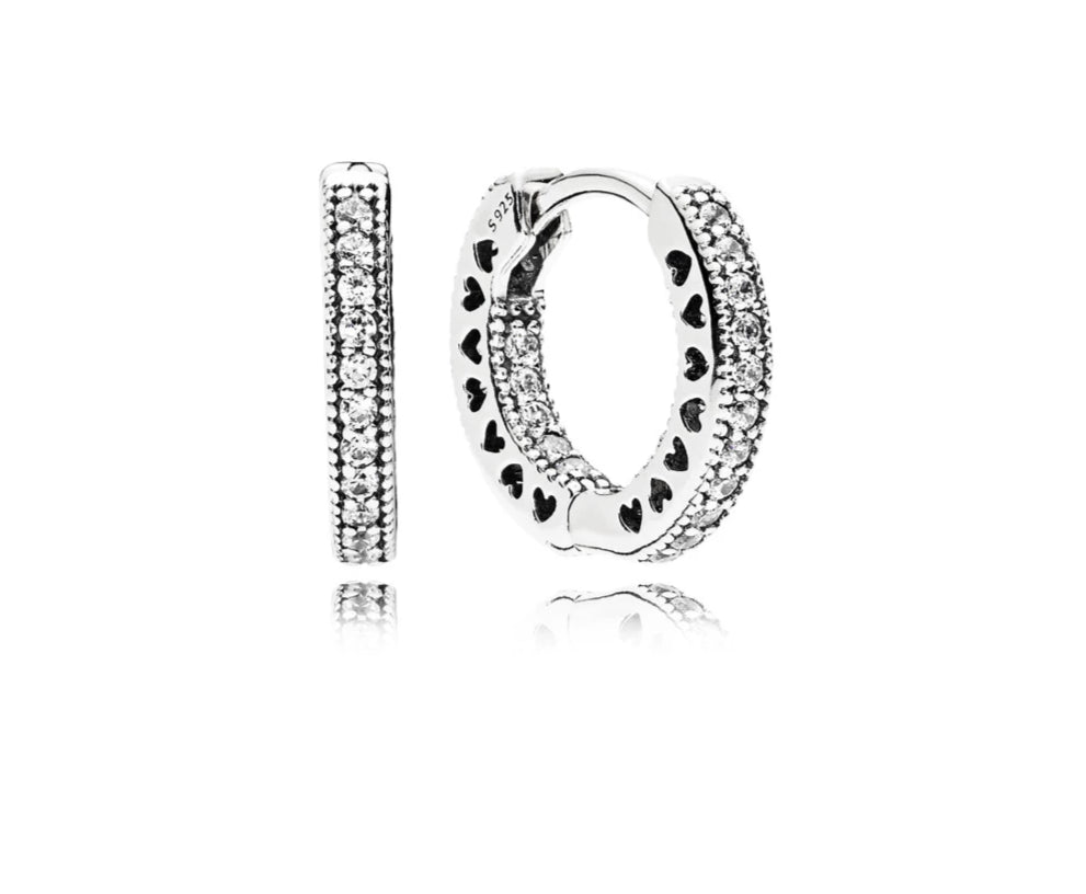 Hearts of Pandora Hoop Earrings - Pandora Jewelry Las Vegas