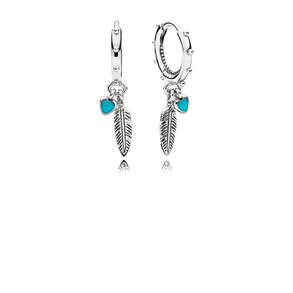 Spiritual Feathers Dangle Earrings, Turquoise Enamel - Pandora Jewelry Las Vegas