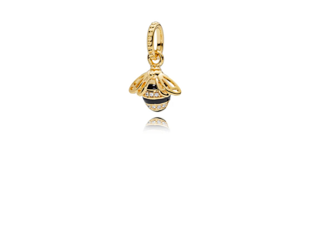 Queen Bee Pendant, Black Enamel  Clear Cz, Pandora Shine™ - Pandora Jewelry Las Vegas
