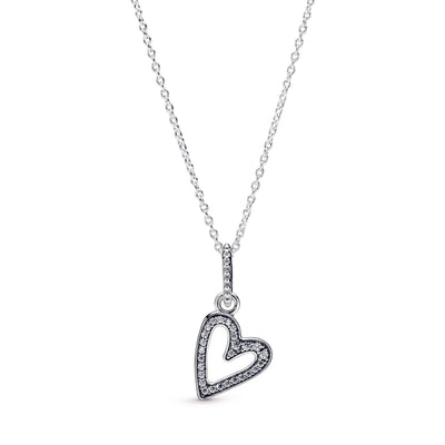 Sparkling Freehand Heart Pendant Necklace - Pandora Jewelry Las Vegas