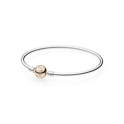 Sterling Silver Bangle with Pandora Rose Clasp - Pandora Jewelry Las Vegas