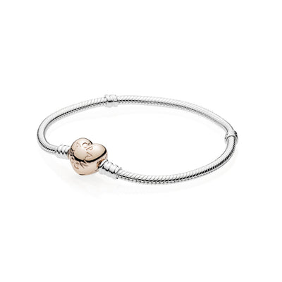 Sterling Silver Bracelet with Pandora Rose Heart Clasp - Pandora Jewelry Las Vegas