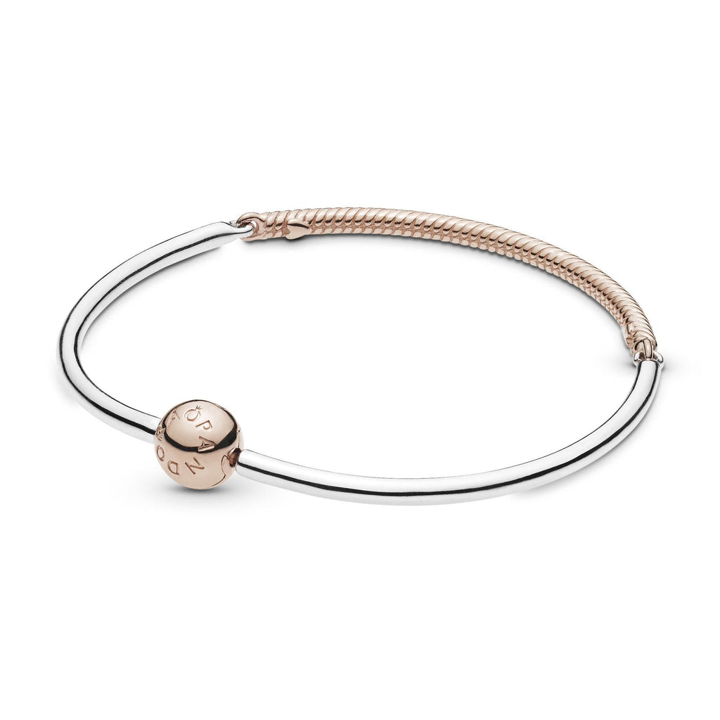 Three-Link Sterling Silver and Pandora Rose Bangle - Pandora Jewelry Las Vegas