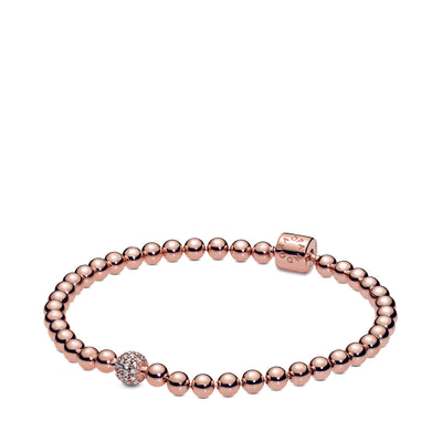 Beads & Pavé Bracelet with Pandora Rose and Clear CZ - Pandora Jewelry Las Vegas