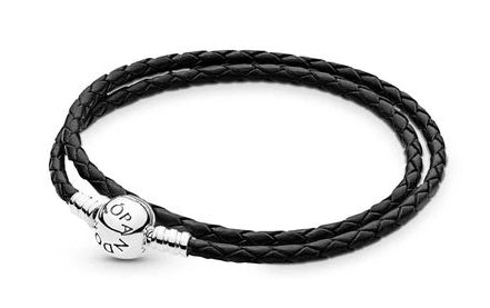 Black Braided Double-Leather Bracelet - Pandora Jewelry Las Vegas