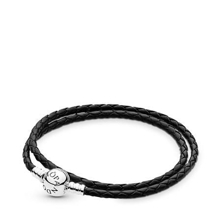 Pandora Moments Black Leather Double Bracelet - Pandora Jewelry Las Vegas