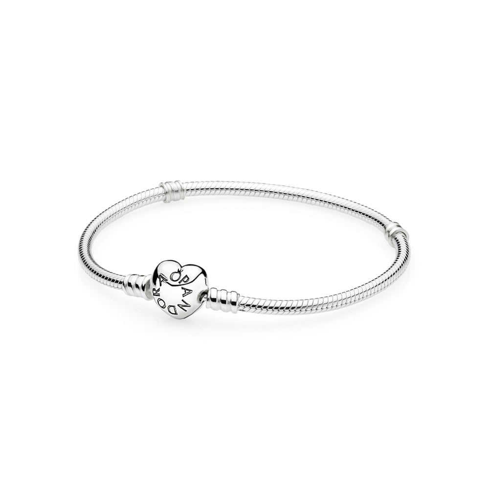 Sterling Silver Bracelet with Heart Clasp - Pandora Jewelry Las Vegas