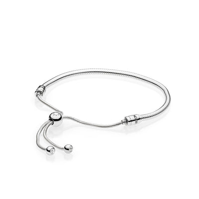 Sterling Silver Bracelet with Clear CZ Sliding Clasp - Pandora Jewelry Las Vegas