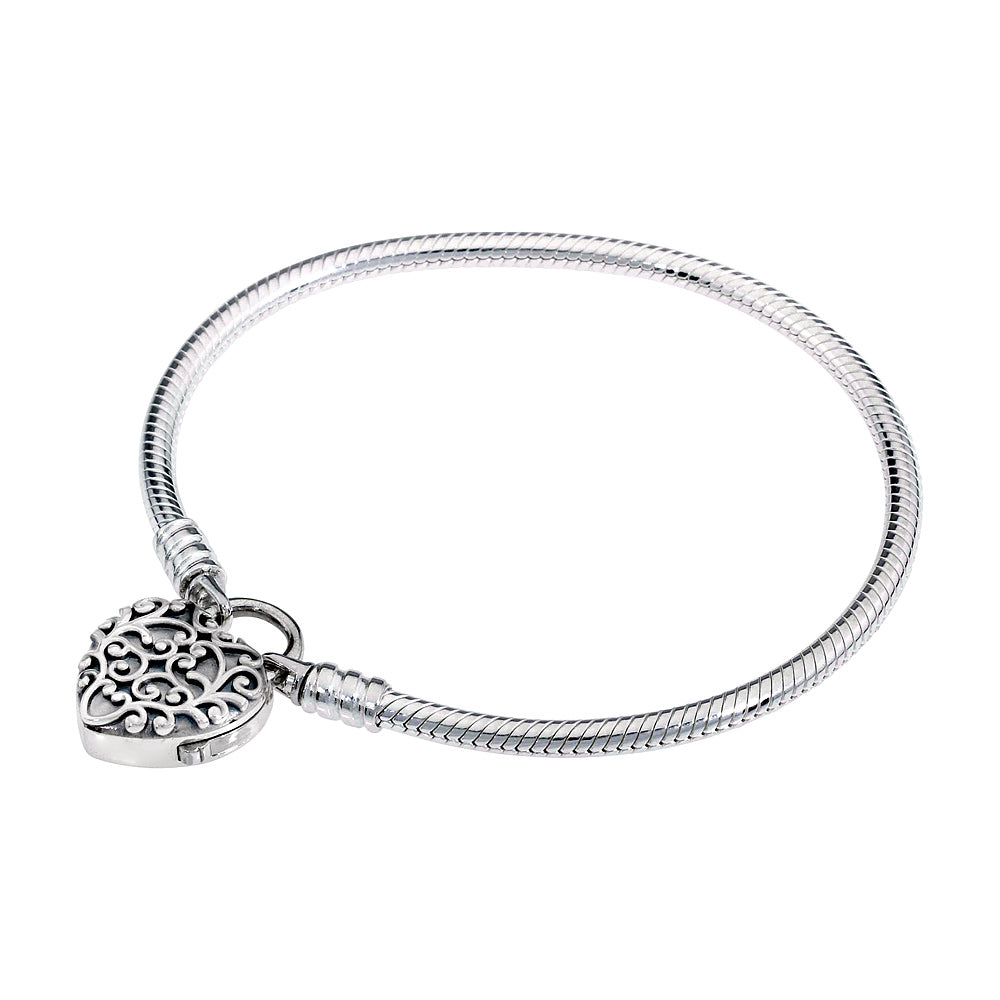 Regal Heart Smooth Silver Padlock Bracelet - Pandora Jewelry Las Vegas