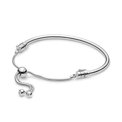 Sterling Silver Bangle with Clear CZ Sliding Clasp - Pandora Jewelry Las Vegas