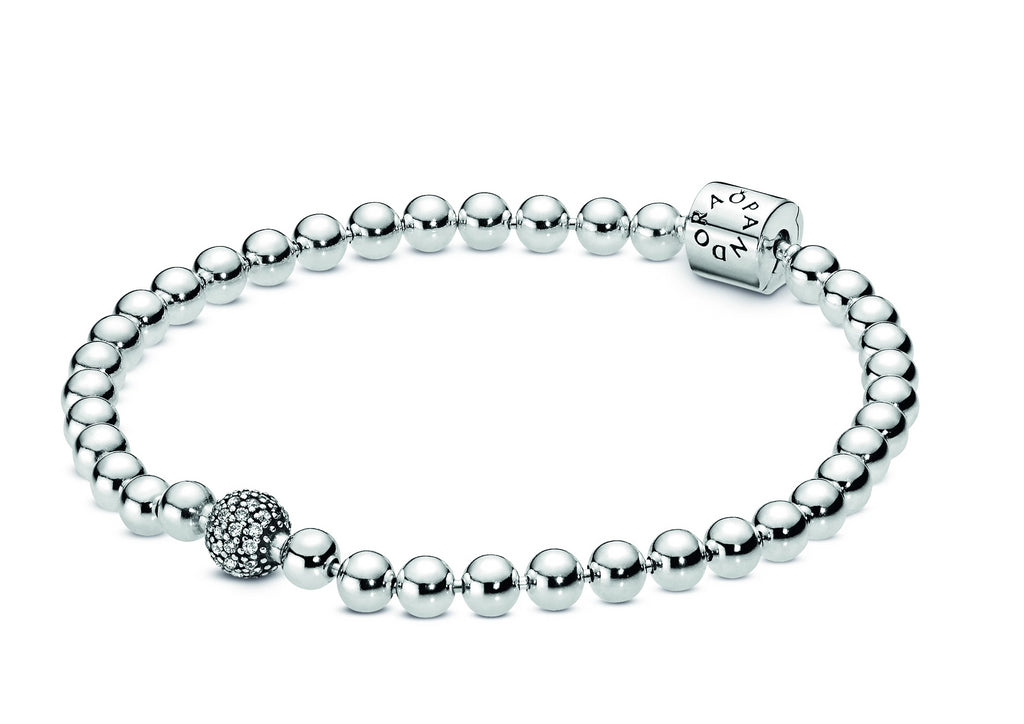 Beads & Pavé Bracelet with Clear CZ - Pandora Jewelry Las Vegas