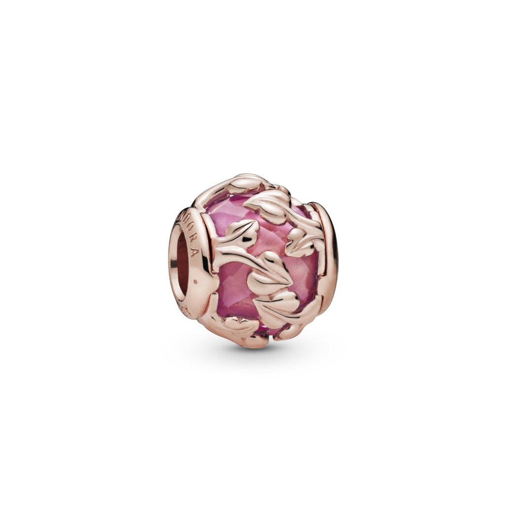 Pink Decorative Leaves Pandora Rose Charm - Pandora Jewelry Las Vegas