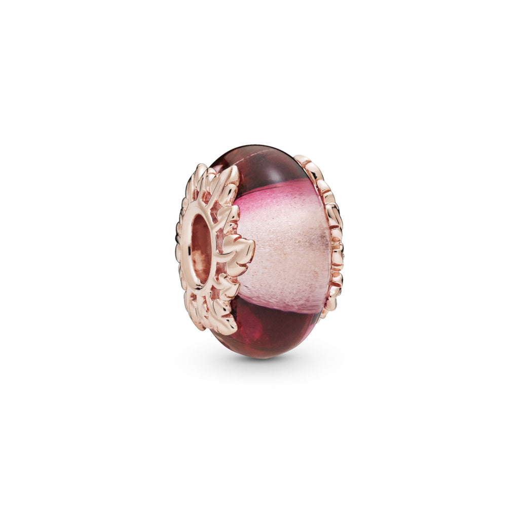 Murano Glass and Leaves Pandora Rose Charm - Pandora Jewelry Las Vegas