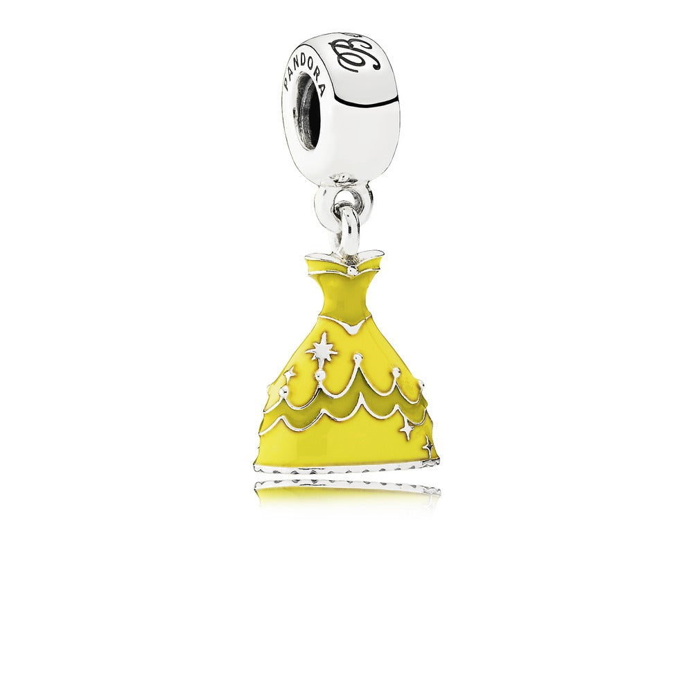 Disney Belle's Dress Dangle Charm with Enamel - Pandora Jewelry Las Vegas
