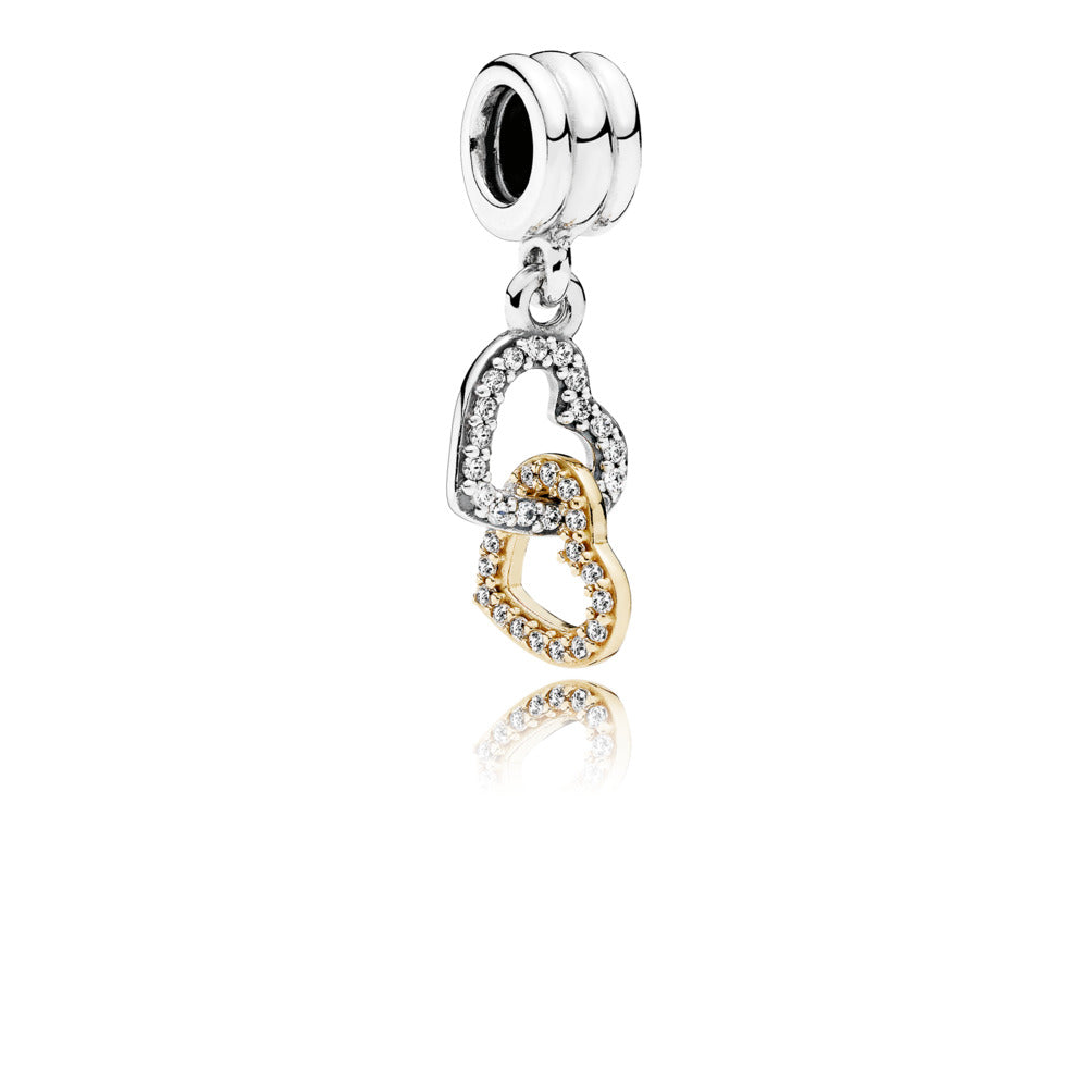 Interlocked Hearts Dangle Charm with 14K Gold - Pandora Jewelry Las Vegas