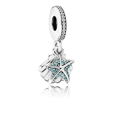 Tropical Starfish and Sea Shell Dangle Charm - Pandora Jewelry Las Vegas