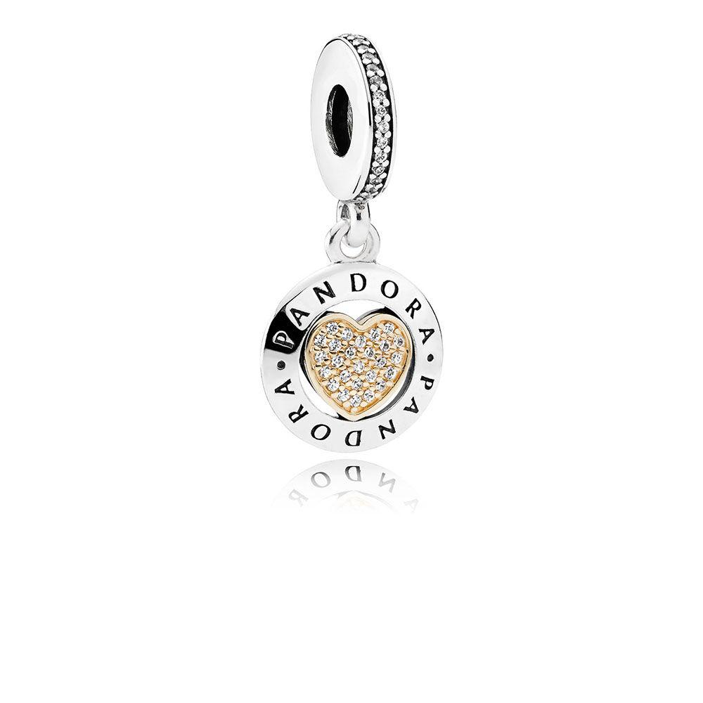 Pandora Signature Heart with 14k Gold - Charm - Pandora Las Vegas Jewelry
