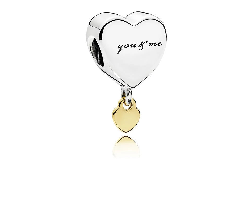 Two Hearts Dangle Charm with 14k Gold - Charm - Pandora Las Vegas Jewelry