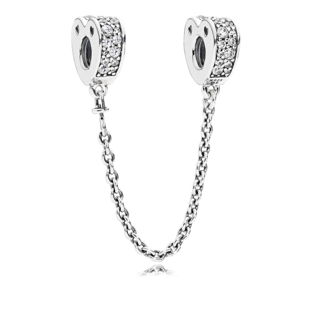 Sparkling Arcs Of Love Safety Chain with Clear CZ - Charm - Pandora Las Vegas Jewelry