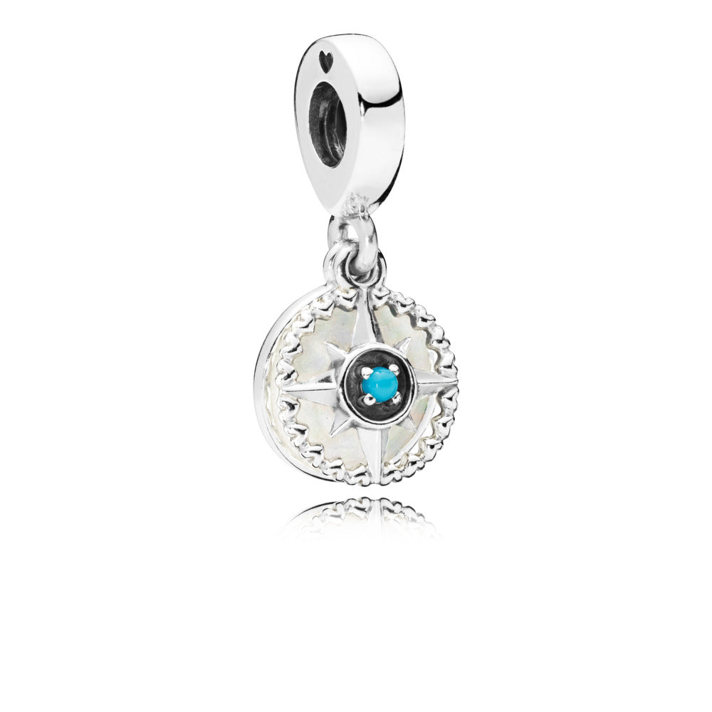 Compass Rose Dangle Charm, Silver Enamel And Cyan Crystal - Pandora Jewelry Las Vegas