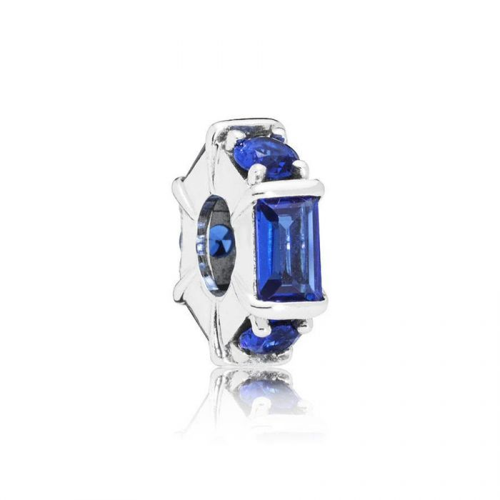 Ice Sculpture Spacer Charm with Blue Crystal - Pandora Jewelry Las Vegas