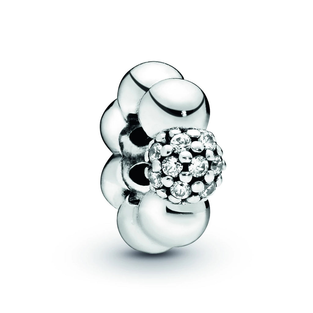 Polished & Pavé Spacer Charm with Clear CZ
