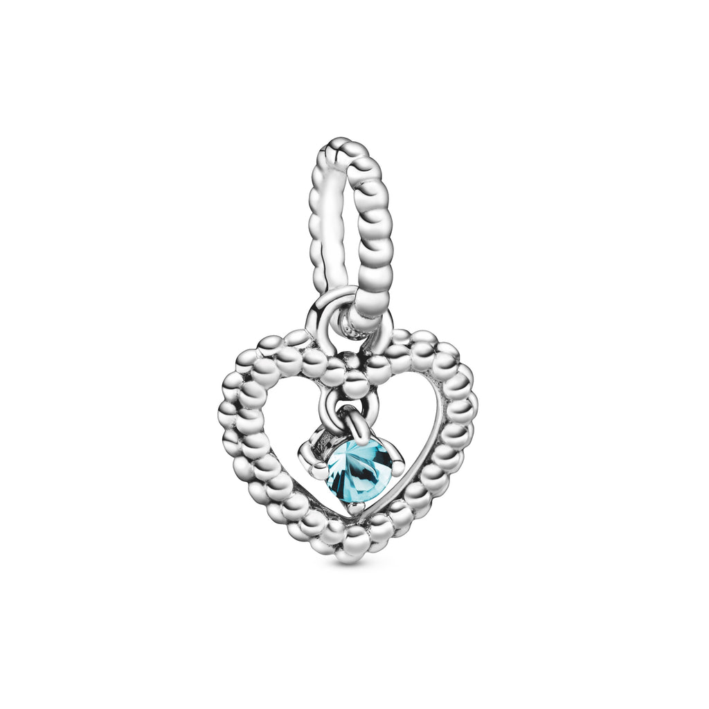 Aqua Blue Beaded Heart Dangle Charm - Pandora Jewelry Las Vegas