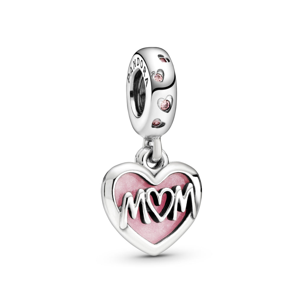 Mom Script Heart Dangle Charm - Pandora Jewelry Las Vegas