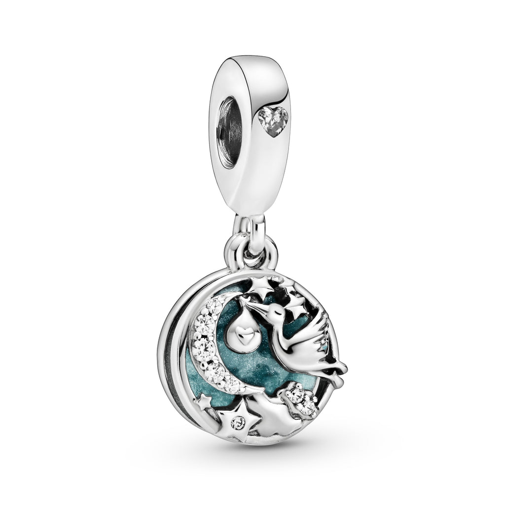 Stork & Twinkling Stars Dangle Charm - Pandora Jewelry Las Vegas